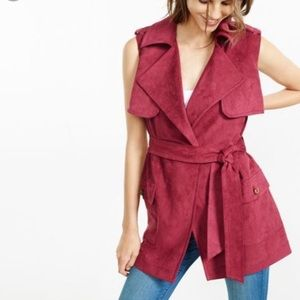Express Berry Faux Suede Sleeveless Trench Coat